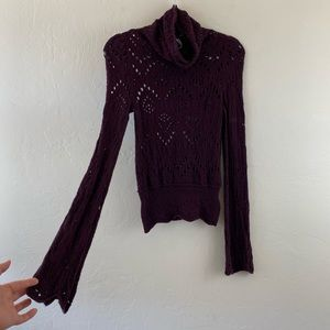 Free People Purple Cowl Neck Bell Sleeve Knit Top